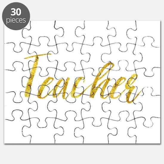 Teacher Gold Faux Foil Metallic Glitter Fri Puzzle