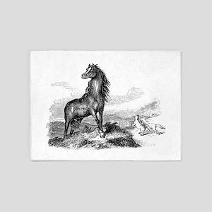 Vintage Horse Illustration - 1800s 5'x7'Area Rug