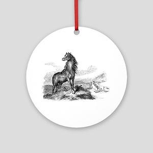 Vintage Horse Illustration - 1800s Round Ornament