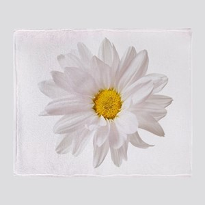 Daisy Flower White Yellow Daisies Fl Throw Blanket