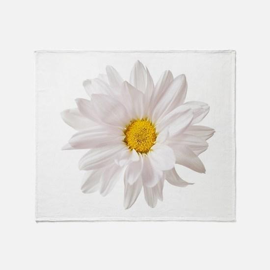 Daisy Flower White Yellow Daisies Fl Throw Blanket