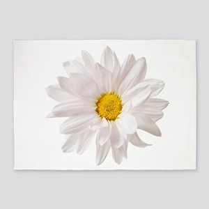 Daisy Flower White Yellow Daisies F 5'x7'Area Rug