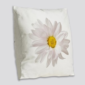 Daisy Flower White Yellow Dais Burlap Throw Pillow