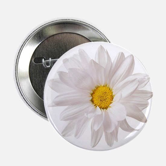 "Daisy Flower White Yellow Daisies Flo 2.25"" Button"