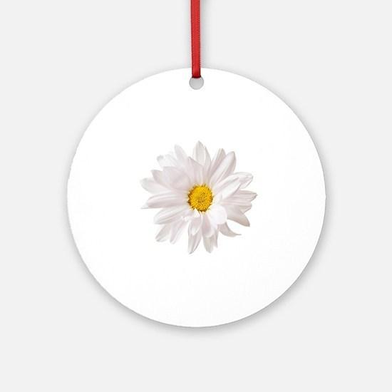 Daisy Flower White Yellow Daisies F Round Ornament