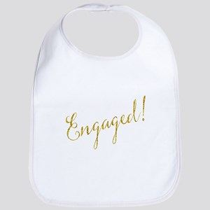 Engaged Gold Faux Foil Glitter Metallic W Baby Bib