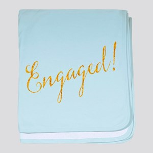 Engaged Gold Faux Foil Glitter Metall baby blanket