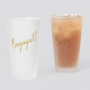 Engaged Gold Faux Foil Glitter Meta Drinking Glass