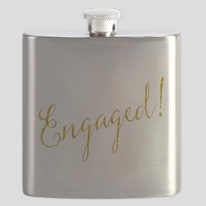Engaged Gold Faux Foil Glitter Metallic Wedd Flask