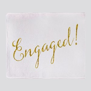 Engaged Gold Faux Foil Glitter Metal Throw Blanket