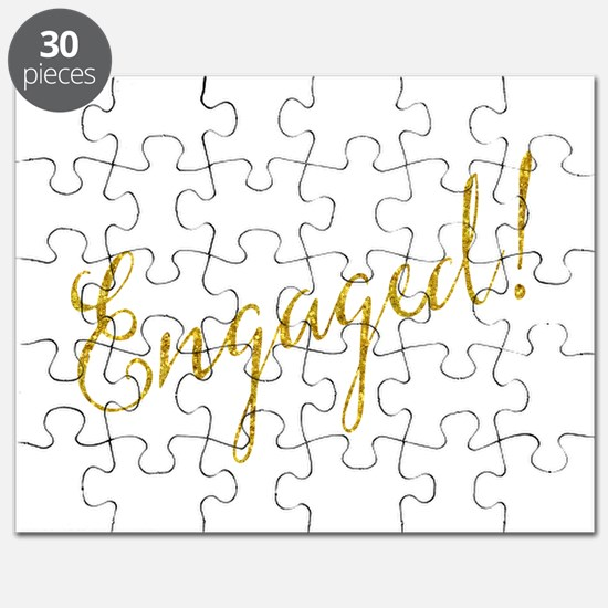 Engaged Gold Faux Foil Glitter Metallic Wed Puzzle