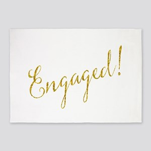 Engaged Gold Faux Foil Glitter Meta 5'x7'Area Rug