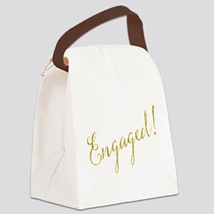 Engaged Gold Faux Foil Glitter Me Canvas Lunch Bag