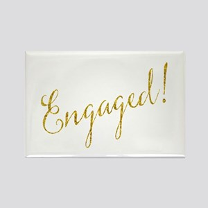 Engaged Gold Faux Foil Glitter Metallic We Magnets