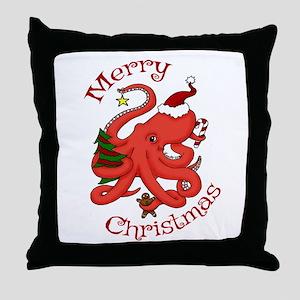 Christmas Octopus Throw Pillow