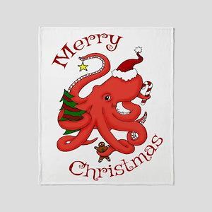 Christmas Octopus Throw Blanket