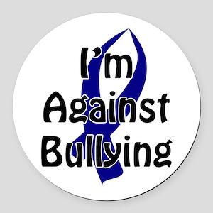 Anti-Bullying Blue Ribbon Round Car Magnet