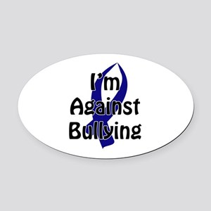 Anti-Bullying Blue Ribbon Oval Car Magnet