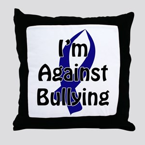 Anti-Bullying Blue Ribbon Throw Pillow