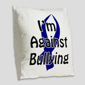 Anti-Bullying Blue Ribbon Burlap Throw Pillow