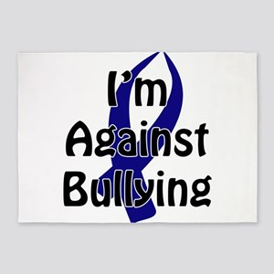 Anti-Bullying Blue Ribbon 5'x7'Area Rug