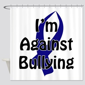 Anti-Bullying Blue Ribbon Shower Curtain