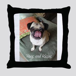 Pugs and Kisses 2 Throw Pillow