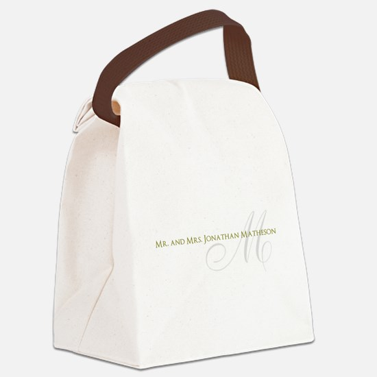 Name and Monogram Design Canvas Lunch Bag