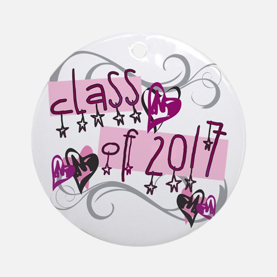 Class of 2017 Funky Stars Round Ornament