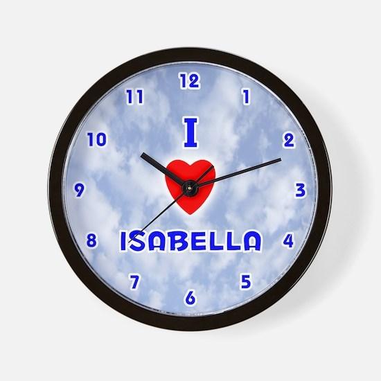 I Love Isabella (Blue) Valentine Wall Clock