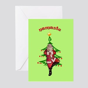 Santa Tree Pose Greeting Cards