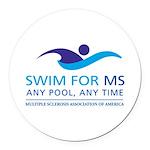 Swim for MS Round Car Magnet