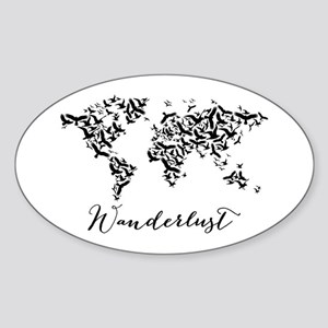 Wanderlust, world map with flying birds Sticker