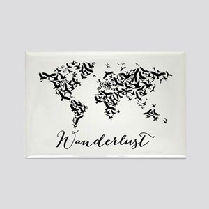 Wanderlust, world map with flying birds Magnets