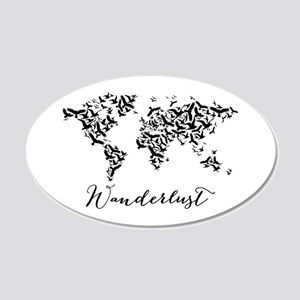 Wanderlust, world map with flying birds Wall Decal