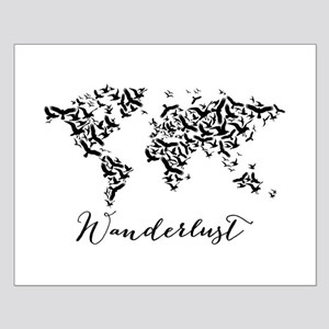 Wanderlust, world map with flying birds Posters