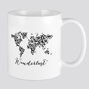 Wanderlust, world map with flying birds Mugs