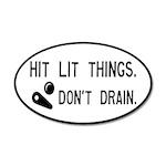 Pinball Don't Drain Humorous 20x12 Oval Wall Decal