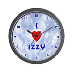 I Love Izzy (Blue) Valentine Wall Clock