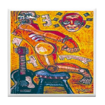 Bondage and Guitar Tile Coaster