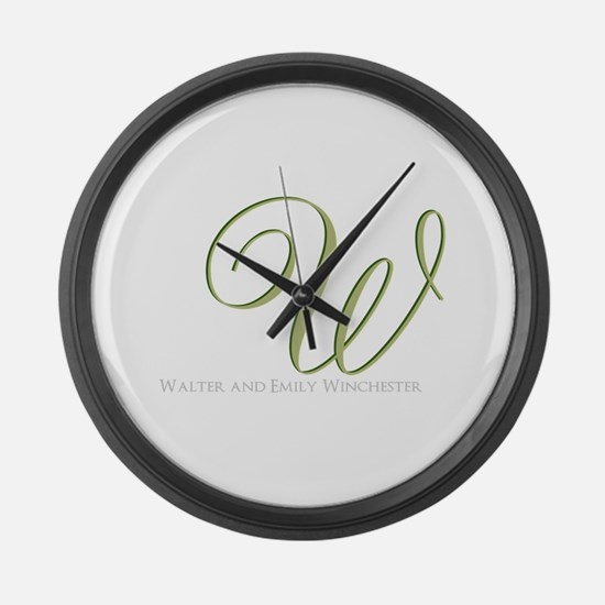 Elegant Monogram and Text by LH Large Wall Clock