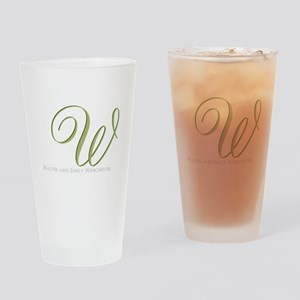 Elegant Monogram and Text by LH Drinking Glass