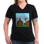 Turkey in Glasses Women's V-Neck Dark T-Shirt