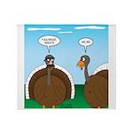 Turkey in Glasses Throw Blanket