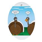 Turkey in Glasses Oval Ornament