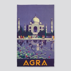 Agra, India; Vintage Travel Poster Area Rug