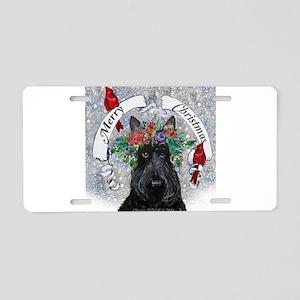 Scottie Christmas Snow Aluminum License Plate