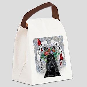 Scottie Christmas Snow Canvas Lunch Bag
