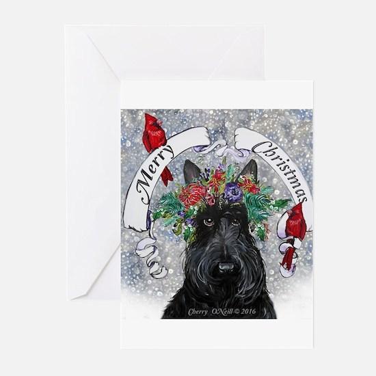 Scottie Christmas Snow Greeting Cards
