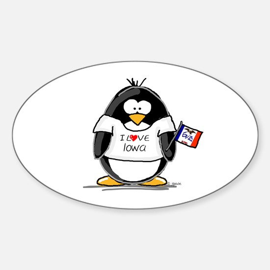 Iowa Penguin Oval Decal